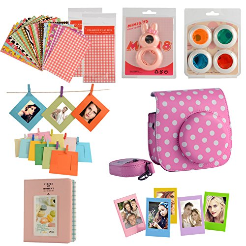 fan-le-camera-kits-camera-case-for-fujifilm-instax-mini-8-instant-camera-accessory-bundles-set-pink-