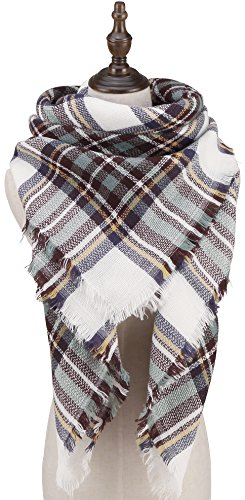 CHERRY CAT White Oversized Square Flannel Plaid Blanket Scarfs Womens Fringe Light Weight Wrap Shawl (White Mixed) Over Scarf