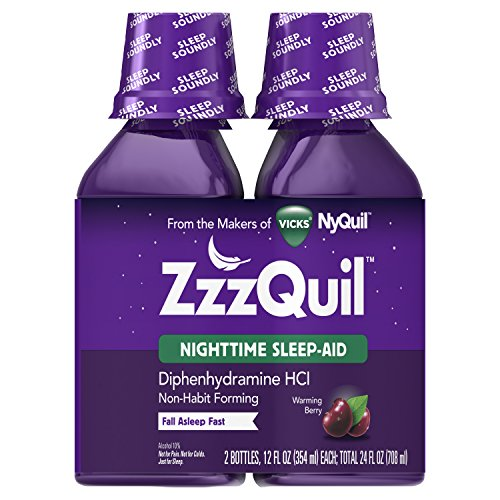 Vicks ZzzQuil Nighttime Sleep Aid, 2 Bottles, 12 fl oz, Warming Berry Liquid