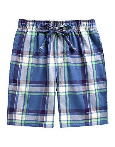 Pj Check Set (TINFL Men's Plaid Check Cotton Lounge Sleep Shorts MSP-SB006-Blue S)