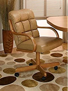 Casual Rolling Caster Dining Chair With Swivel Tilt In Oak Wood With Bonded  Leather Seat And