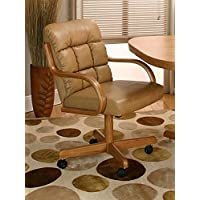 Casual Rolling Caster Dining Chair with Swivel Tilt in Oak Wood with Bonded Leather Seat and Back (Set of 2)