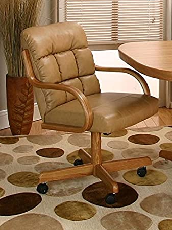 Casual Rolling Caster Dining Chair With Swivel Tilt In Oak Wood Bonded Leather Seat And