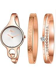 Xinge Womens Rose Gold-Tone Bangle Watch and Bracelet Set XG3678WR&1119