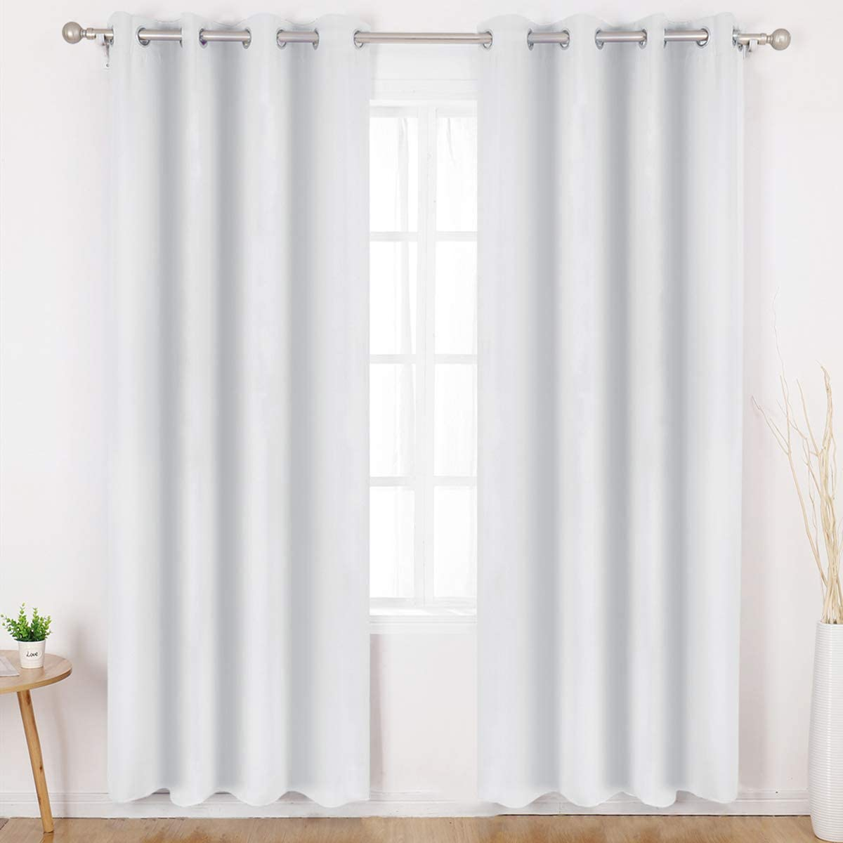 HOMEIDEAS Greyish White Blackout Curtains Wide 52 X 84 inches Long Set of 2 Panels Room Darkening Curtains/Drapes, Thermal Insulated Grommet Window Curtains for Bedroom & Living Room
