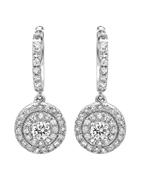 0.70 Carat (ctw) 14K White Gold Round White Diamond Ladies Halo Style Dangling Earrings 3/4 CT
