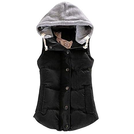 uirend Ropa Mujer Ropa de Abrigo Chalecos - Chaquetas Ultraligero Empaquetado Puffer Botón Algodón Cuerpo Calentador
