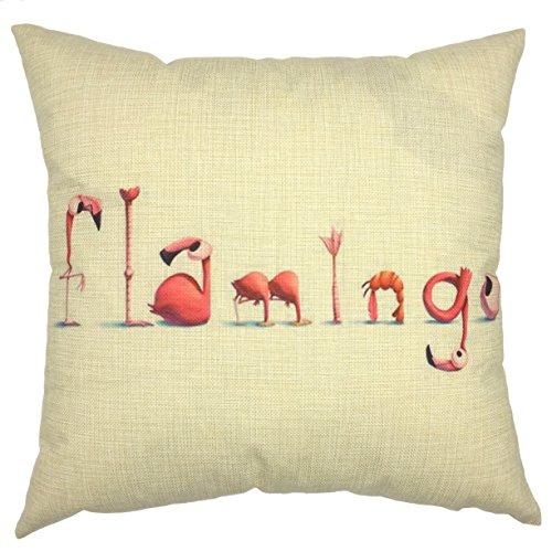 YOUR SMILE-Flamingo Cotton Linen Throw Pillow Covers Decorative 18 x 18 (Burlap Pencil Case)