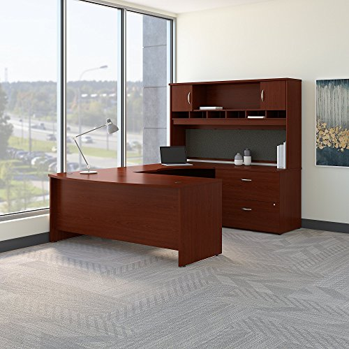 (Bush Business Furniture Series C 72W Right Handed Bow Front U Shaped Desk with Hutch and Storage in)