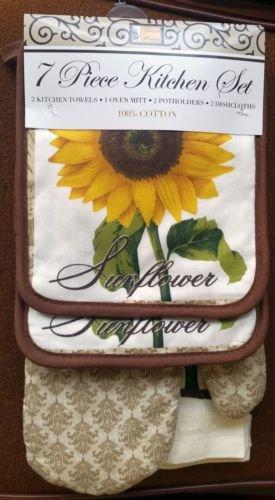 The Pecan Man Sunflower Everyday Kitchen Set of 7, 1 OVEN MITT & 2 Pot Holders & 2 Dish Cloths & 2 Kitchen Towels