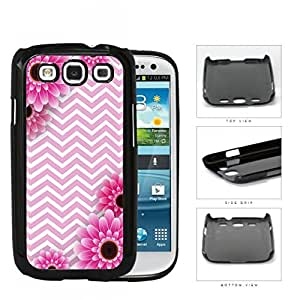Pink and White Chevron Pattern with Pink Flower Daisy in Corners Background Samsung Galaxy S3 I9300 Hard Snap on Plastic Cell Phone Case Cover