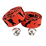 TOPCABIN Camouflage Series Comfort GEL Road Bike Handlebar Tape Bike Bar Tape with Reflective Bar Plugs (Red (a pair))