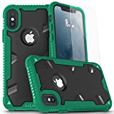 Zizo PROTON 2.0 Series compatible with iPhone X Case Military Grade Drop Tested with Tempered Glass Screen Protector GREEN BLACK