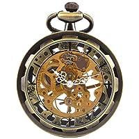 Carrie Hughes Reloj de bolsillo mecánico con esqueleto de cara abierta Steampunk vintage con cadena para hombre mujer (Bronce CH397)