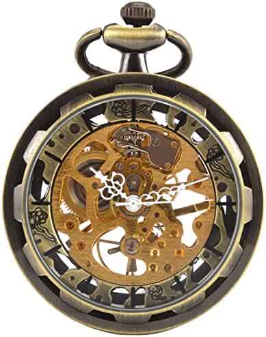 Carrie Hughes Vintage Steampunk Open face Skeleton Mechanical Pocket watch with Chain for Men Woman (Bronze)