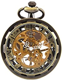 Vintage Steampunk Open face Skeleton Mechanical Pocket Watch with Chain for Men Woman (Bronze CH397)