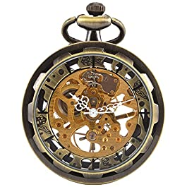 Carrie Hughes Men's Open face Bronze Steampunk Gold Skeleton Mechanical Pocket Watch with Chain Best Gift