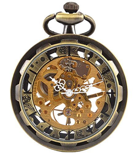 - Carrie Hughes Men's Open face Bronze Tone Steampunk Skeleton Mechanical Pocket Watch with Chain Best Gift CH397