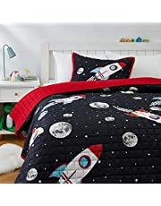 Amazon Basics Kids Space Rockets 100% Cotton Reversible Quilt Bedspread - Full/Queen, Space Rockets/ Flaming Red