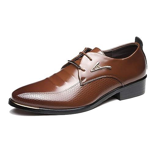 Zapatillas Oxford para Hombres Piel con Punta de Piel Zapatillas urbanas de Punta Baja con Zapatos de Trabajo Suaves: Amazon.es: Zapatos y complementos
