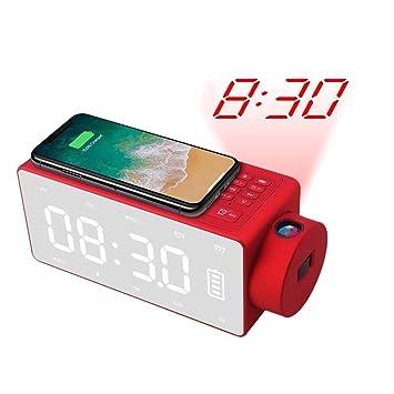 NFY Bluetooth Speaker Despertador con proyección de Reloj, Altavoz de Cargador inalámbrico subwoofer portátil Boombox