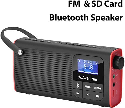 Avantree 3-in-1 Portable Transistor FM Radio, Battery Radio with Bluetooth Speaker and MP3 SD Card Player SP850