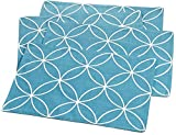"""Unique & Custom {13'' x 19'' Inch} Set Pack of 4 Rectangle """"Flat & Smooth Texture"""" Large Table Placemats Made of Flexible Polyester w/ Modern Swirled Vibrant Tile Design [White & Blue Color]"""