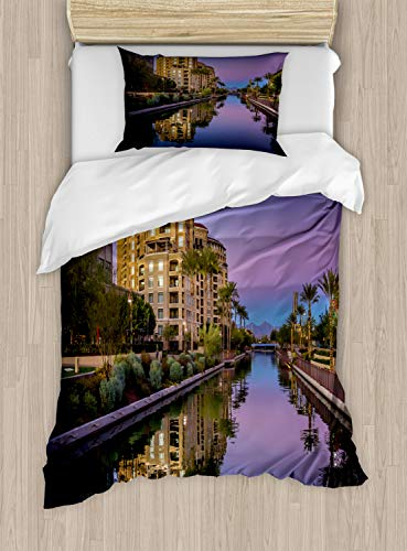 Ambesonne Arizona Duvet Cover Set, Photo of Az Canal in Scottsdale at Sunset with Downtown Architecture, Decorative 2 Piece Bedding Set with 1 Pillow Sham, Twin Size, Multicolor (Az Scottsdale Furniture)