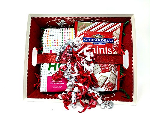 Christmas Gift Bundle The Legend of the Candy Cane Tray, Coffee, Ghirardelli Mini Peppermint Bark Bundle Basket For Teacher, Hostess, or Employee (Gift Baskets For Employees)