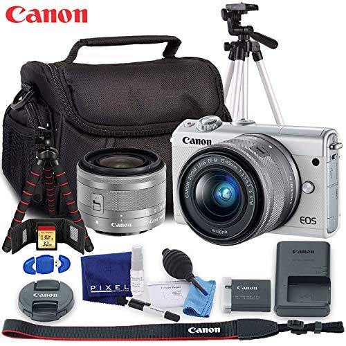 Canon EOS M100 Mirrorless Digital Camera with 15-45mm Lens (White) – Ultimate Kit