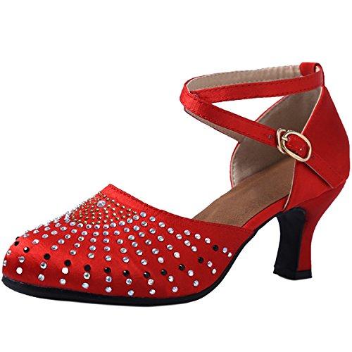 de Mary Redonda Jane Baile Azbro Rojo Imitación de Puntera Mujer Latino Diamantes Decoración de Zapatos XnvqT
