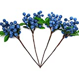 YEDREAM Artificial Berries Blue, 4 Pcs Plastic Artificial Flowers Berries Blueberry Fruit Fake Flowers Home Decorative Party Wedding(Blue)