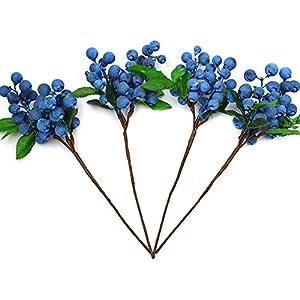 YEDREAM Artificial Berries Blue, 4 Pcs Plastic Artificial Flowers Berries Blueberry Fruit Fake Flowers Home Decorative Party Wedding(Blue) 31