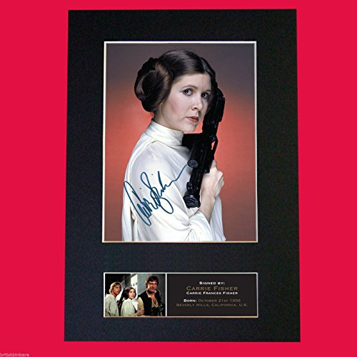 CARRIE FISHER Princess Leia Star Wars Mounted PRINT A4 (Carrie Fisher Star)