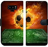 Samsung Galaxy Note 9 Flip Fabric Wallet Case Image ID: 8174614 Hot Soccer Ball on The Speed in Fires Flame