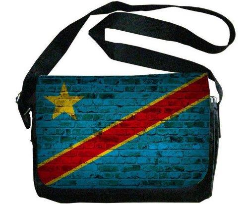 CONGO Kinshasa Flagレンガ壁デザインメッセンジャーバッグ   B00F1YCBRA