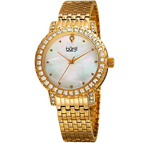 Burgi BUR176 Designer Crystal Women's Watch - Stainless Steel Bracelet Band, Czech Crystal Studded Bezel and Case, Mother of Pearl Dial, Quartz Movement (Yellow Gold)