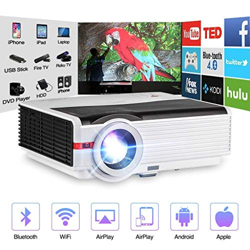 Wireless Bluetooth LCD Video Projector Home Theater Multimedia 5000 Lumens Android 6.0 WXGA LED Smart TV Proyector Support Full HD 1080P HDMI VGA RCA Audio USB AV for Gaming Outdoor Movie Party Beamer