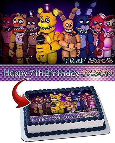 Five Nights at Freddy/'s Personalized Edible Cake Topper Frosting Sheets 5 Sizes