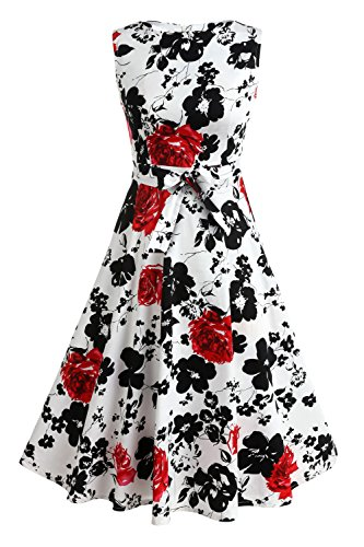 Cocktail 2 Big Haut Femmes Annes Swing Robe Dress Vingtage 50s Taille ZEARO de Soire Sexy Floral Styles Hepburn Nouveau Fleur Imprim xZqwRA