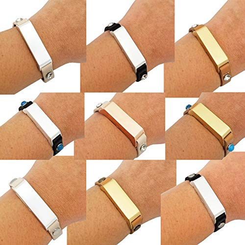 Bracelet for Fitbit Flex or Fitbit Flex 2 Fitness Activity Trackers - The KATE Studded Single-Strap Premium Vegan or Genuine Leather Buckle Bracelet (Beige & Silver Circle Studs, Fitbit Flex 2 , S/M) ()