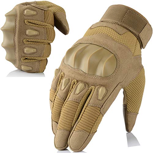 AXBXCX Touch Screen Military Rubber Hard Knuckle Tactical Gloves Full Finger Hunting Cycling Motorcycle Training Army Shooting Motorbike Airsoft Paintball Gloves Brown L Ball Soft Brown Gloves