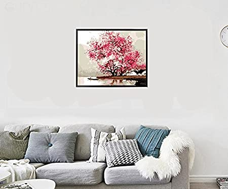 ColorfulBallet 16*20 inch DIY Pre-Printed Canvas Oil Painting Gift for Adults Kids Paint by Number Kits With Wooden Frame for Home Decor