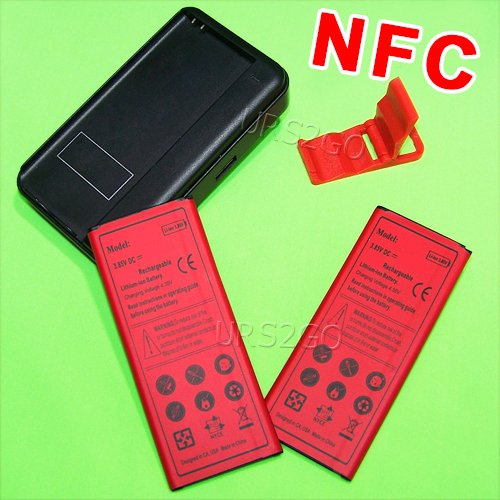 [NOTE 4 NFC Battery Combo Pack] High Capacity 2x 4900mAh Standard NFC Battery Portable Dock Home USB/AC Charger Folding Bracket for Samsung Galaxy Note 4 SM-N910P Phone