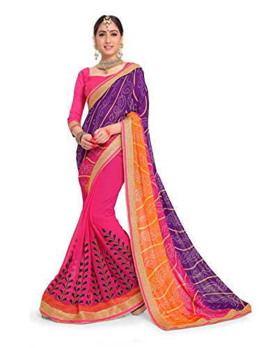 (ELINA FASHION Sarees for Women Faux Georgette Embroidered Saree l Indian Wedding Ethnic Sari & Blouse Piece (Violet & Pink))