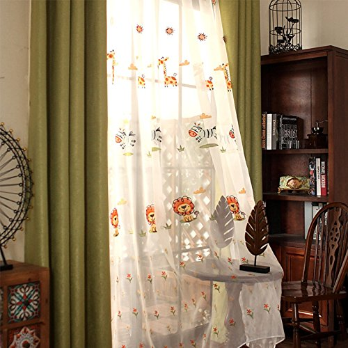 AiFish Rustic Floral Sheer Curtains Embroidered Sheer Curtain Panels Lion Giraffe Zebra Embroidery Animals Zoo Gauze Panel Voile Yarn Window Drape Curtains for Kids Room Bedroom 1 Panel W75 x L84 inch