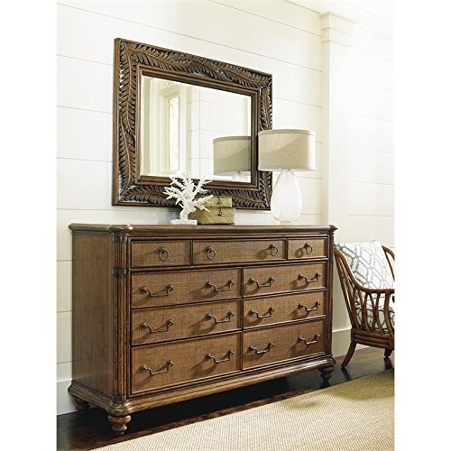 Tommy Bahama Bali Hai 9 Drawer Dresser with Mirror in Warm Brown