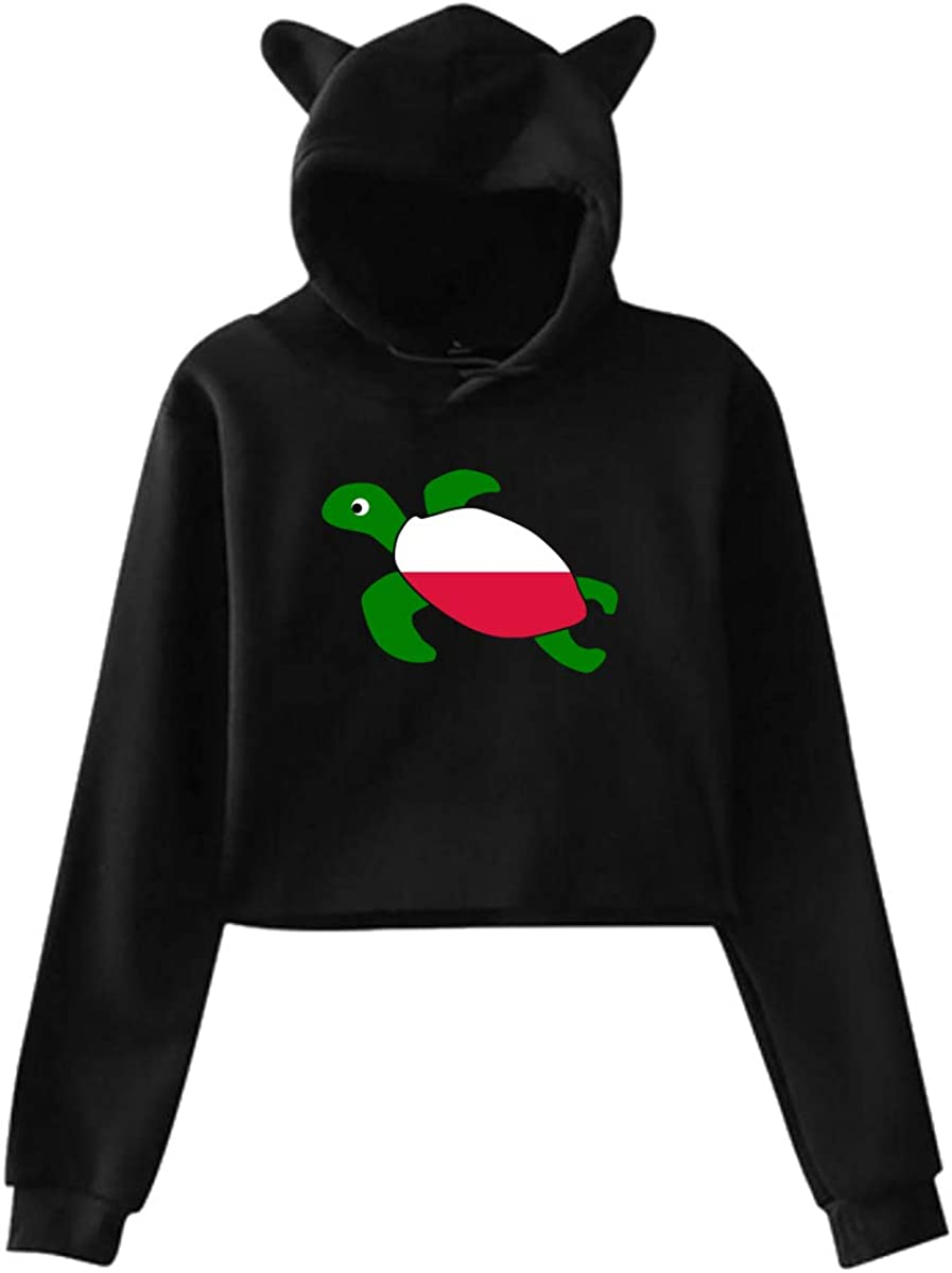 Womens Girls Cat Unicorn Pullover Hoodie Sea Turtle Poland Flag Cropped Sweatshirts