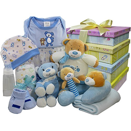 Welcome Little One New Baby Gift Tower, Blue Boys