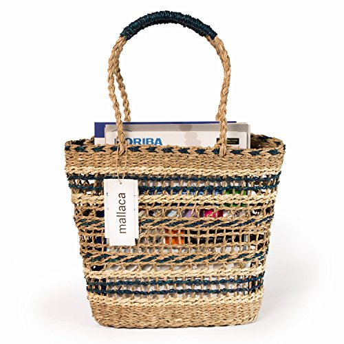 - Blue Straw Shopper Bag Braided Detail In A Combination Of Colors Handbags Shoulder Strap by Mallaca